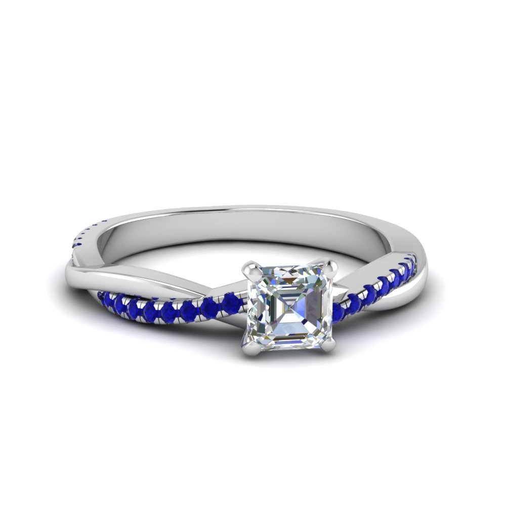 Asscher Cut Twisted Vine Diamond Ring With Sapphire In 14K White Gold