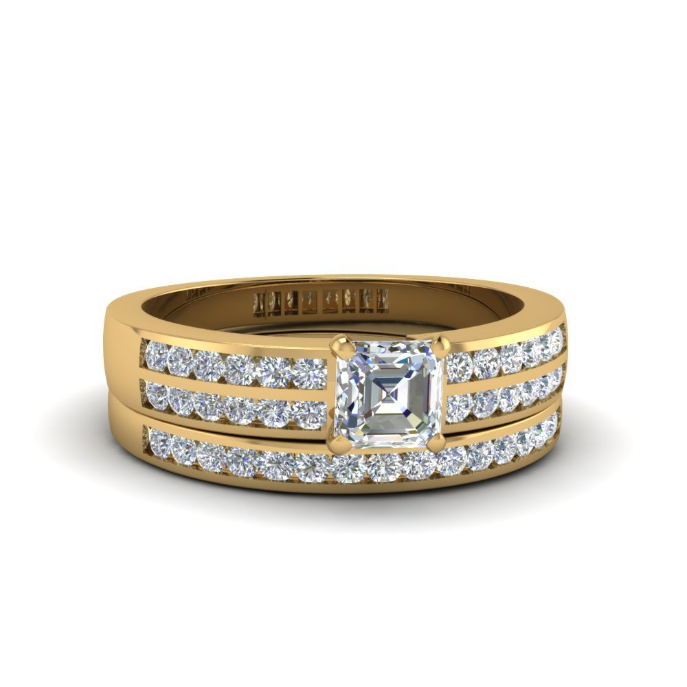 Asscher Cut Two Row Channel Diamond Bridal Set In 14K Yellow Gold