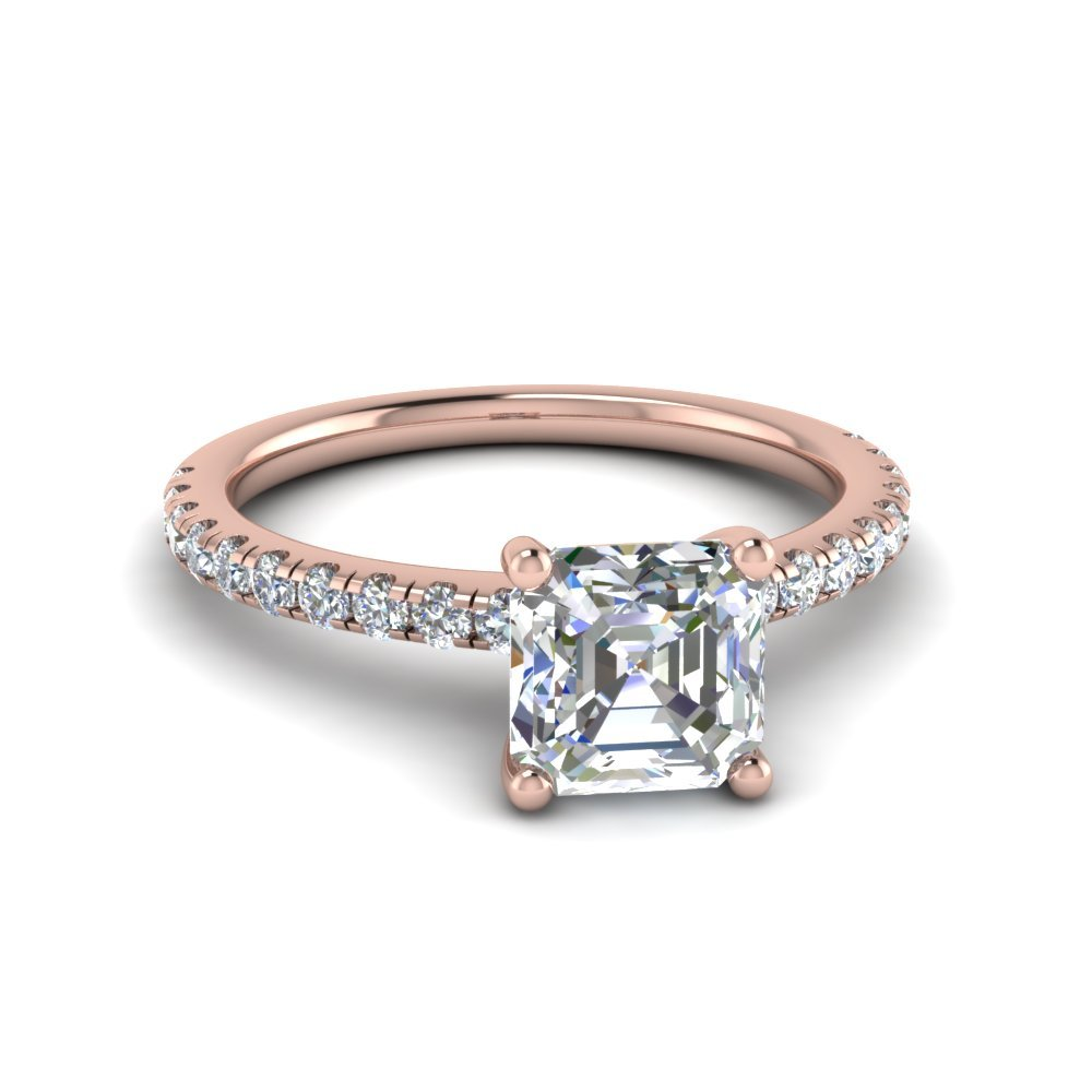 Asscher Cut U Prong Diamond Ring In 14K Rose Gold
