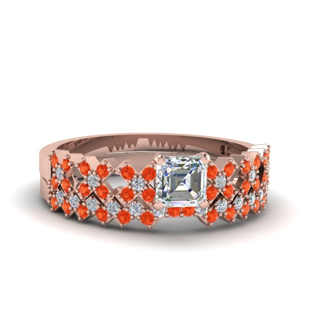 X Design Orange Topaz Wedding Set