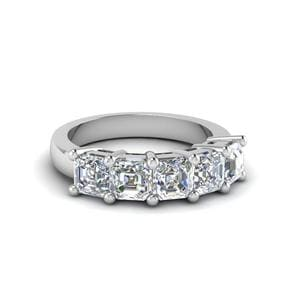 2.5 CT Asscher Cut Five Stone Diamond Ring