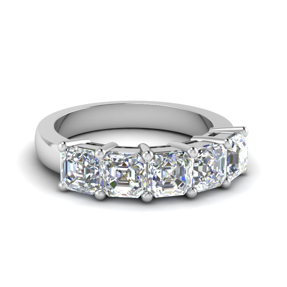 2.5 Ct. Asscher Cut Five Stone mom Ring