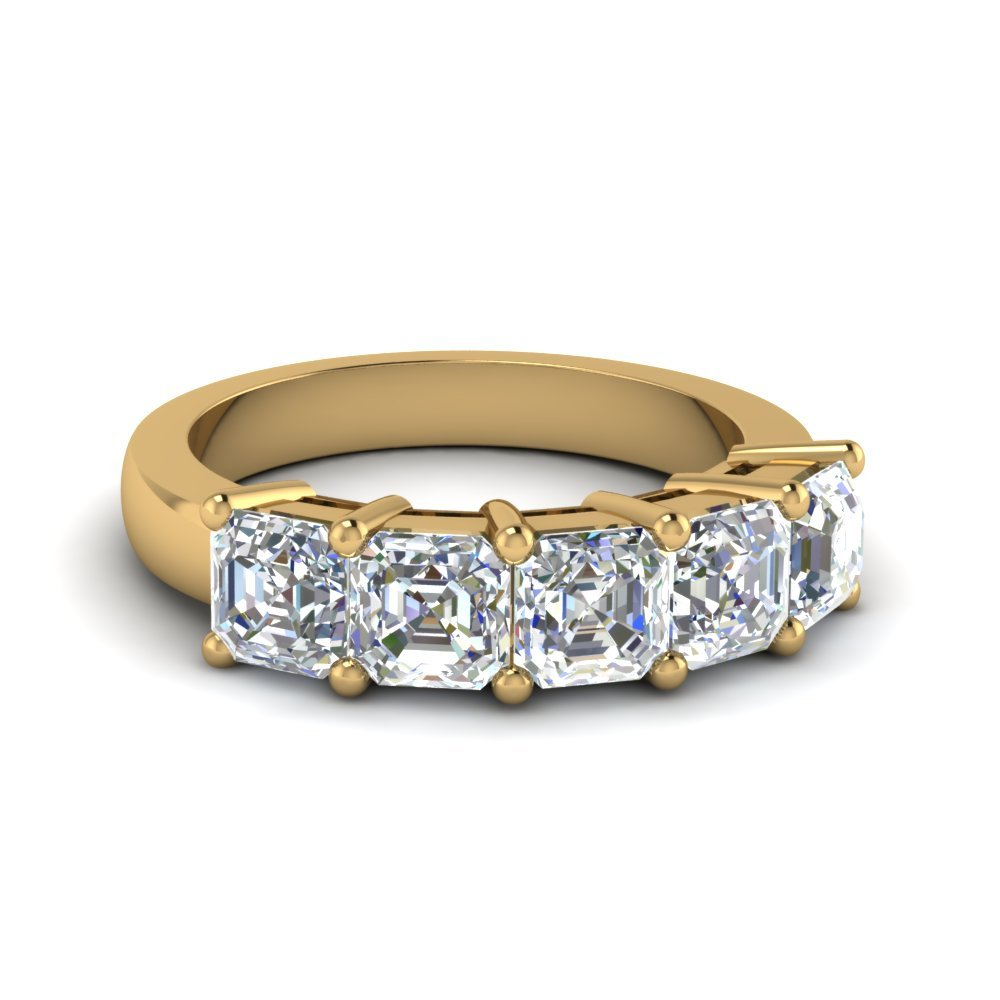 2.5 Ct. Asscher Diamond Wedding Anniversary Band In 14K Yellow Gold