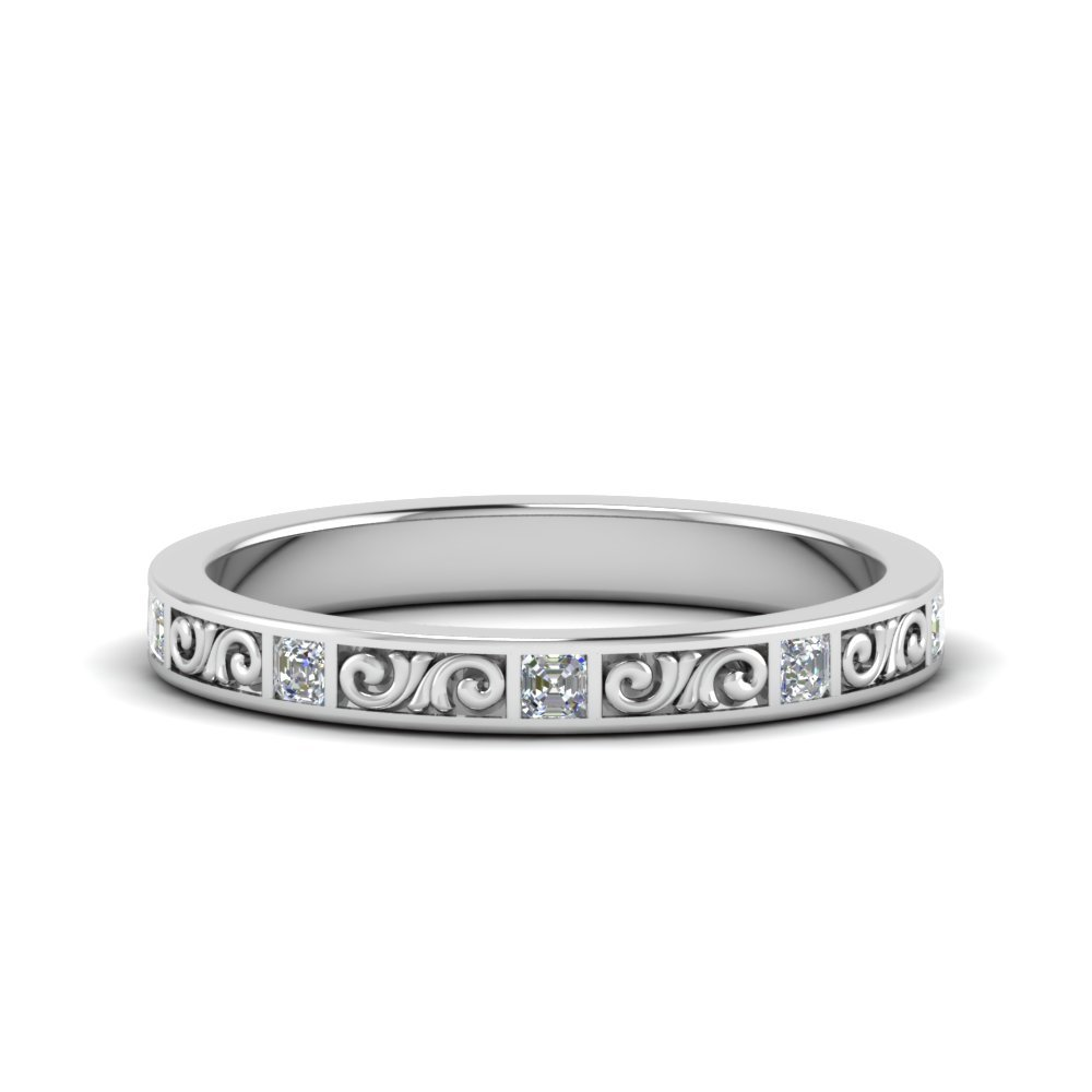 Filigree Engraved Asscher Diamond Wedding Band In 14K White Gold