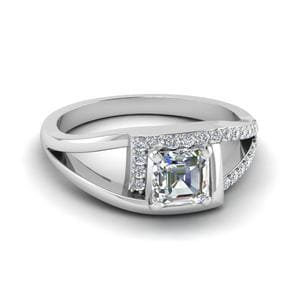 Square Split Shank Halo Ring