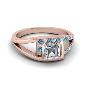 Square Split Halo Topaz Ring