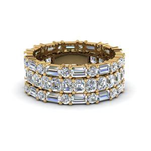 5.50 Ct. Asscher Eternity Band With <br>Matching Baguet