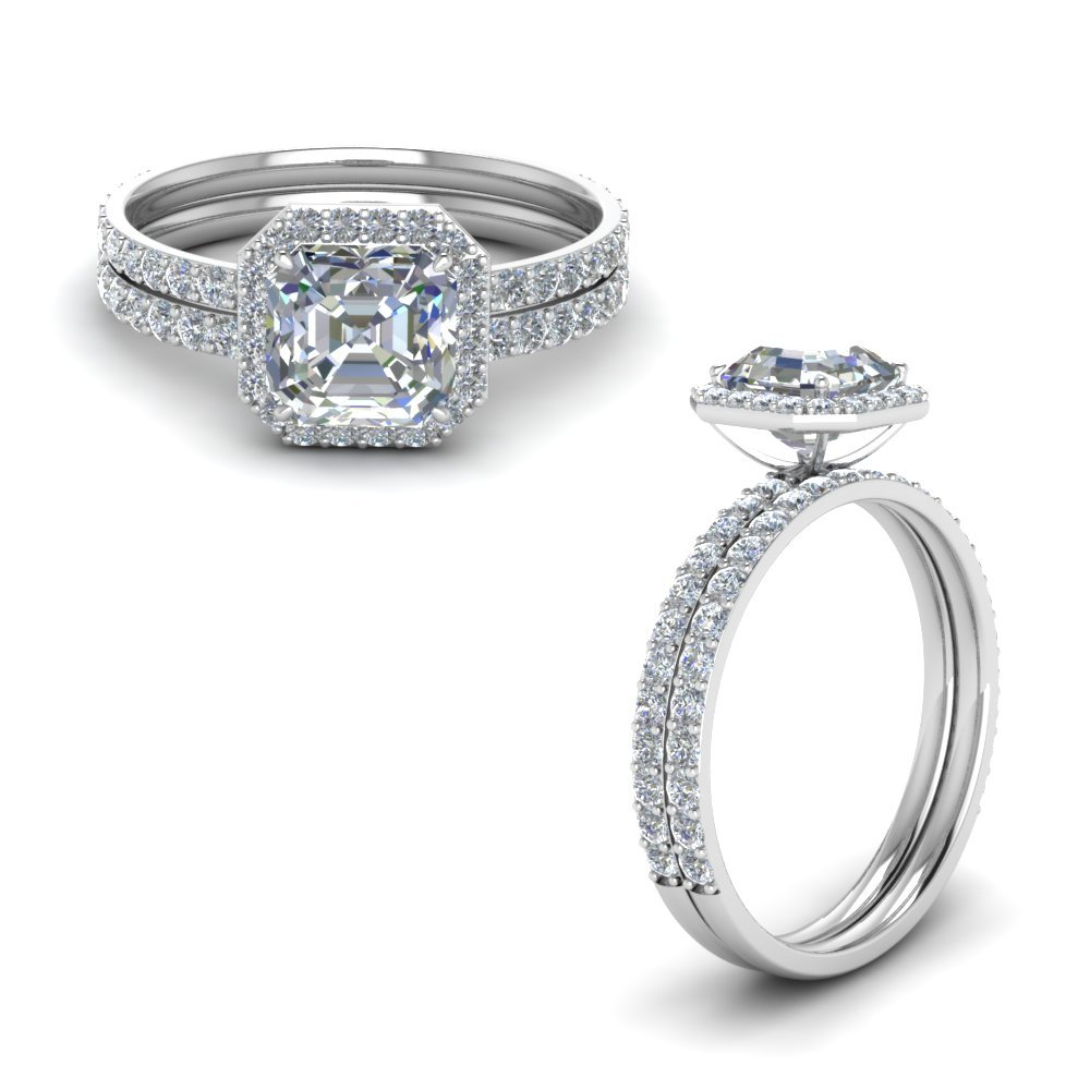 Asscher Halo Diamond Petite Bridal Set