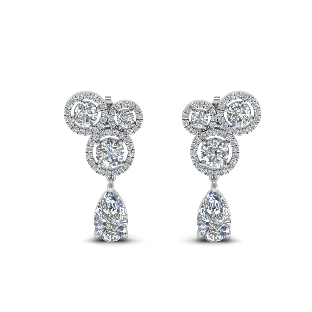 Asymmetry Halo Diamond Earring In 950 Platinum