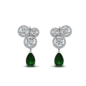 Platinum Emerald Drop Earring