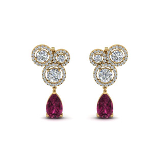 Halo Pink Sapphire Earring