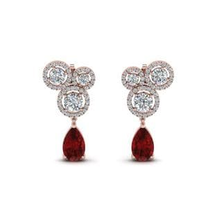 Asymmetry Drop Ruby Earring