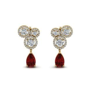 Asymmetry Halo Ruby Earring