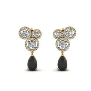 Black Diamond Halo Earring