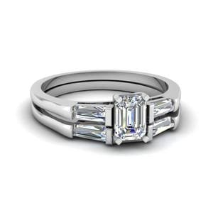 Baguette And Emerald Cut Diamond Wedding Ring Sets In 950 Platinum