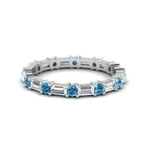 Blue Topaz Platinum Band