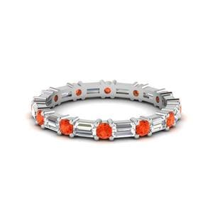 Orange Topaz Baguette Ring