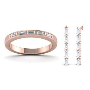 Baguette Band With Earring Set Sale In 14K Rose Gold