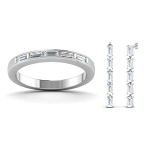 14K White Gold Baguette Band With Earring