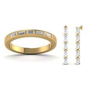 18K Yellow Gold Baguette Band With Earring