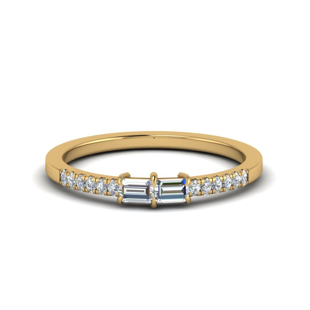 Baguette With Pave Diamond Ring In 18K Yellow Gold