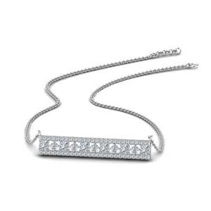 Bar 3 Row Diamond Pendant In 14K White Gold