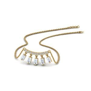 Bar Baguette Drop Necklace