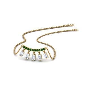 Baguette Drop Necklace With Emerald