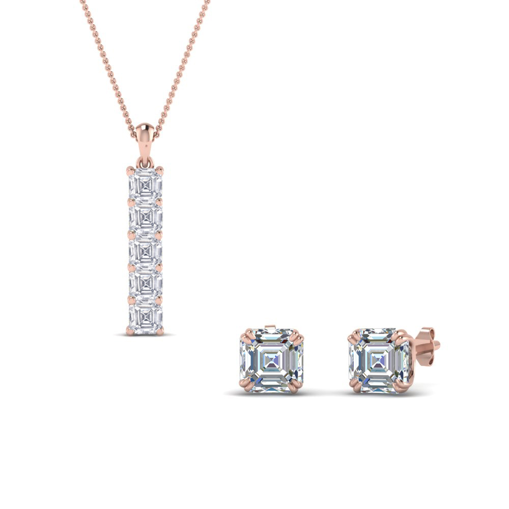 18K Rose Gold Bar Pendant & Stud Earring