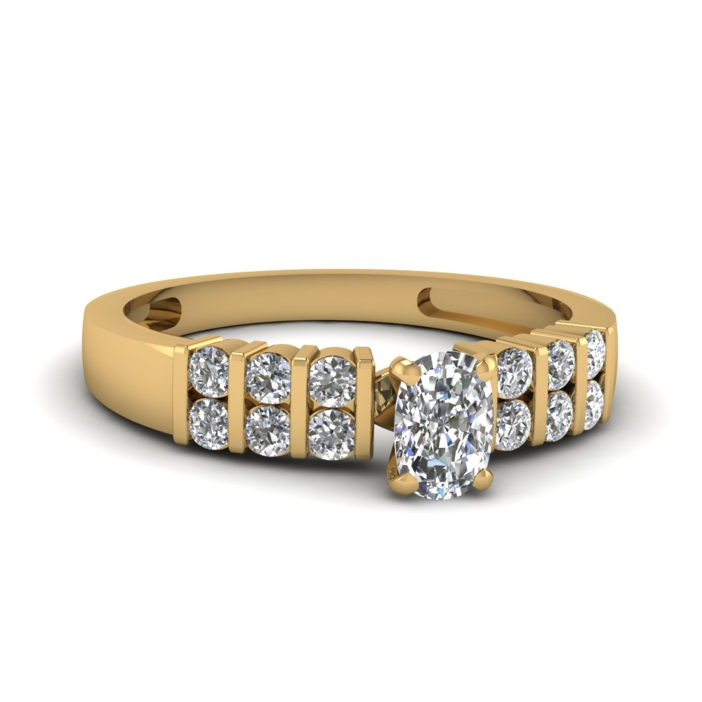 Bar Set Cushion Cut Accented Diamond Ring