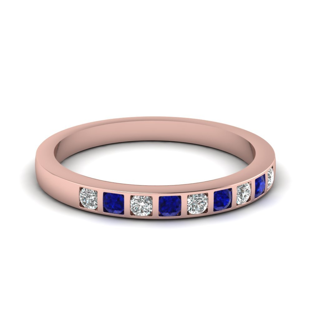 Bar Set Diamond Wedding Ring For Women With Blue Sapphire In 14K Rose Gold