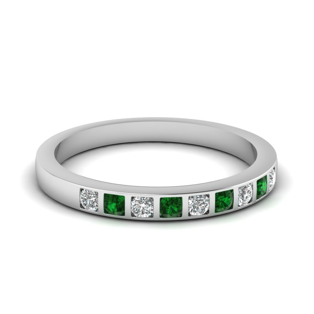 Bar Set Diamond Wedding Ring For Women With Emerald In 18K White Gold