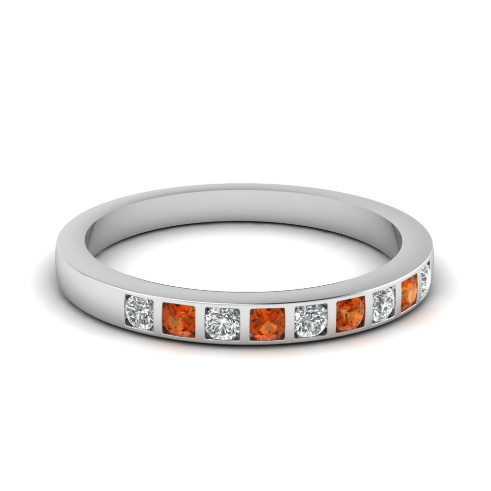 Bar Set Diamond Wedding Ring For Women With Orange Sapphire In 14K White Gold