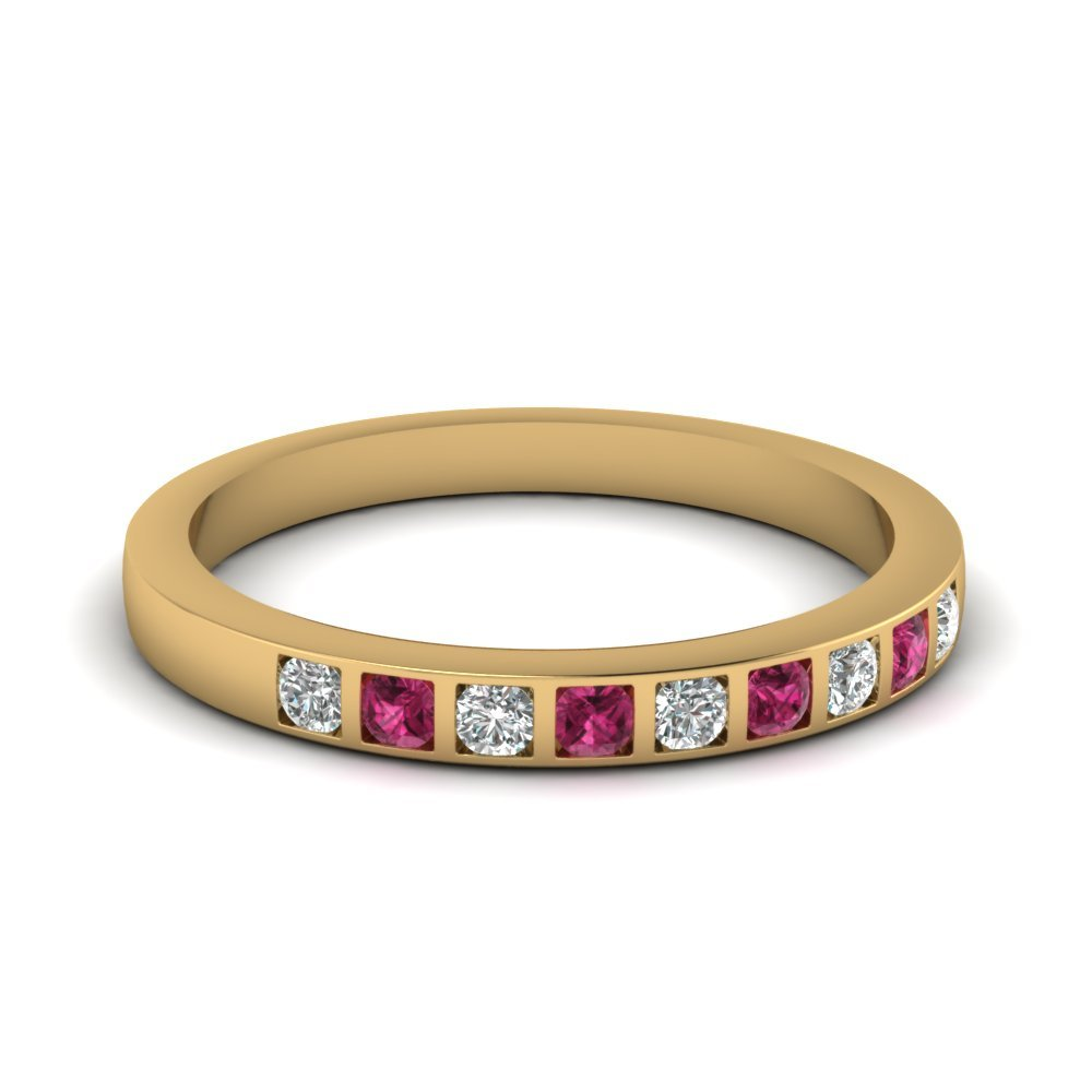 Bar Set Diamond Wedding Ring For Women With Pink Sapphire In 14K Yellow Gold