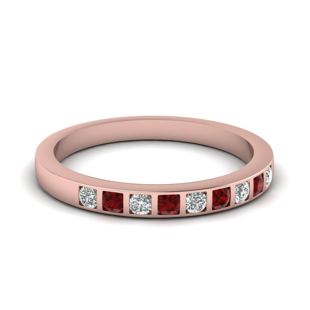 Bar Set Diamond Wedding Ring For Women With Ruby In 18K Rose Gold