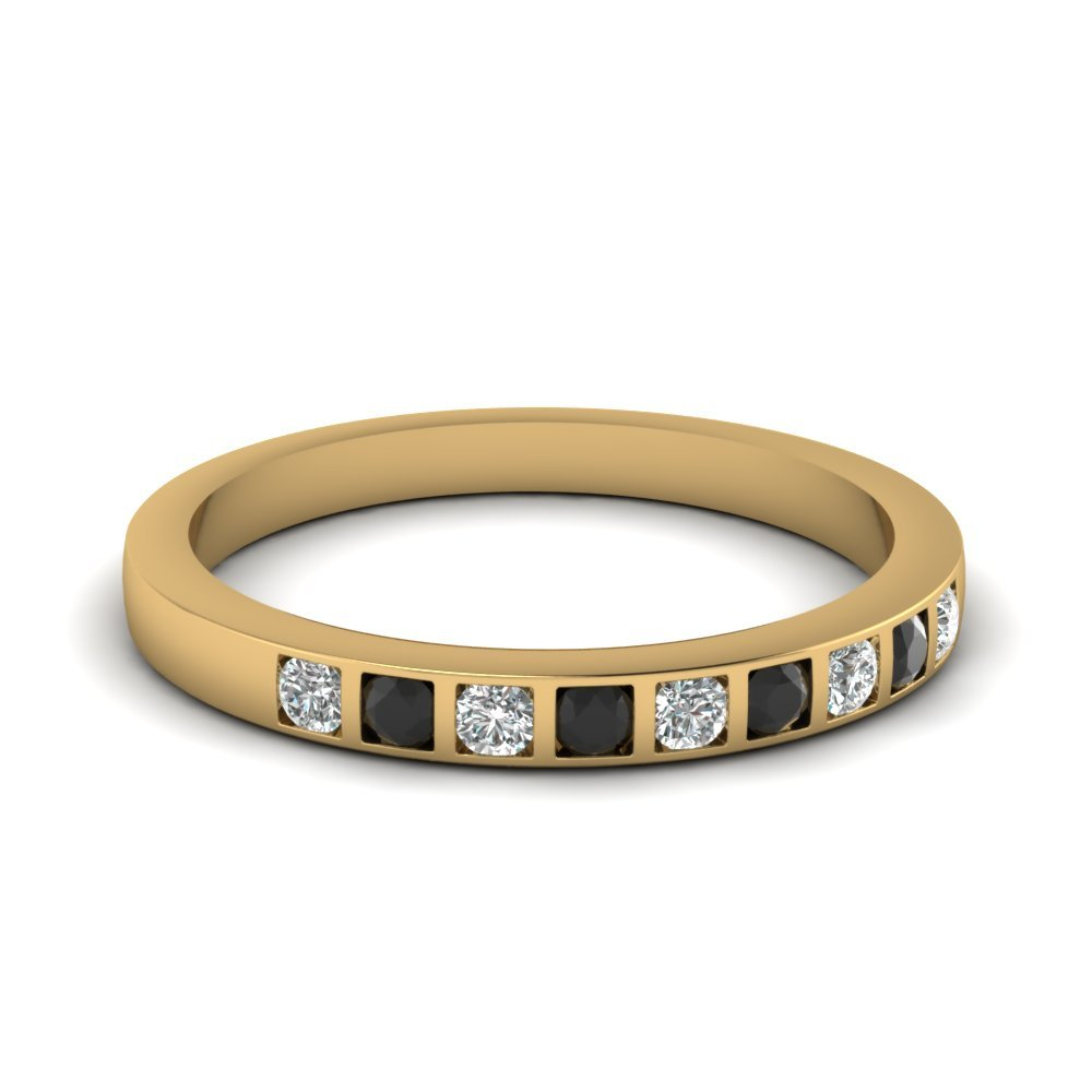 Bar Set Wedding Ring For Women With Black Diamond In 18K Yellow Gold