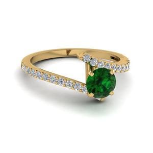 Beautiful Crossover Round Emerald Engagement Ring In 14K Yellow Gold