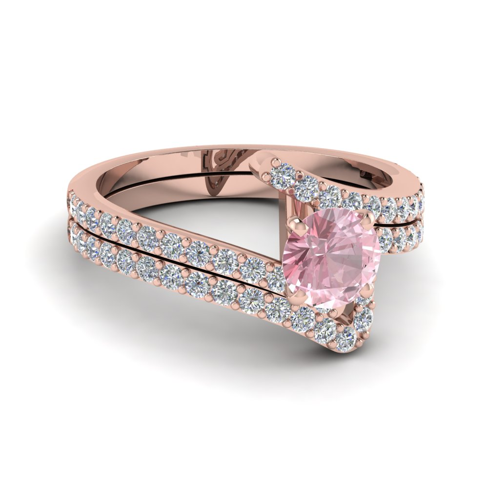 Crossover Morganite Wedding Set