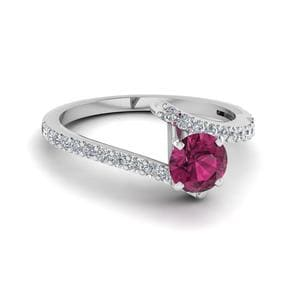 Beautiful Crossover Round Pink Sapphire Engagement Ring In 14K White Gold