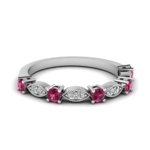 Beautiful Diamond Band Gifts For Mom With Pink Sapphire In 14K White Gold