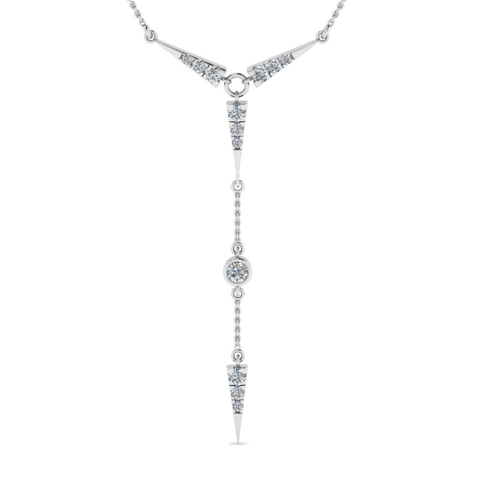 Beautiful Diamond Necklace Gift For Women In 14K White Gold
