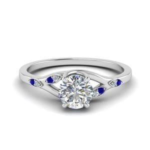 Beautiful Diamond Ring Gift For Mother With Sapphire In 14K White Gold