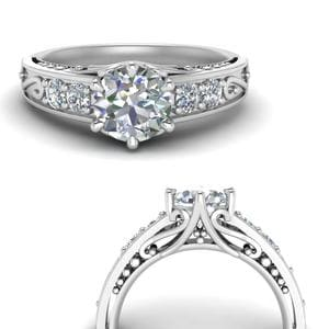 Filigree 6 Prong Diamond Ring