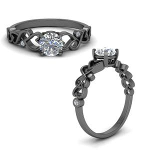 Beautiful Filigree Diamond Engagement Ring In 14K Black Gold