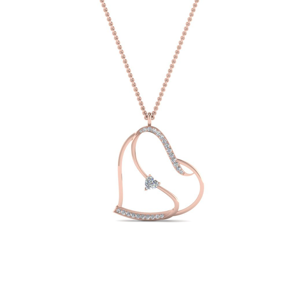 Beautiful Heart Design Diamond Pendant In 14K Rose Gold