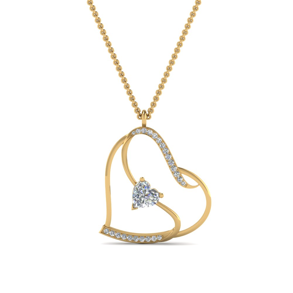 Beautiful Heart Design Diamond Pendant In 14K Yellow Gold