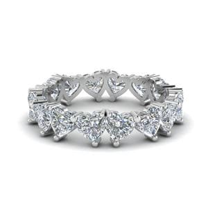 Beautiful Heart Diamond Eternity Band 4 Carat In 18K White Gold