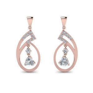 Beautiful Heart Drop Diamond Earring In 14K Rose Gold