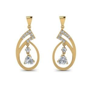 Beautiful Heart Drop Diamond Earring In 18K Yellow Gold