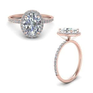 Beautiful Oval Halo Diamond Ring Gifts In 14K Rose Gold